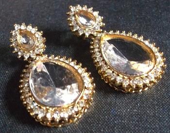 Pearl Stone Drop White stone Earring