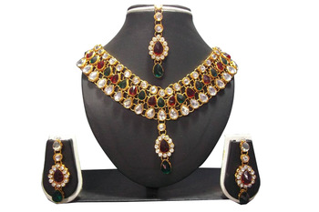 Multi color stone dulhan set