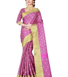 Buy Pink woven linen saree with blouse linen-saree online