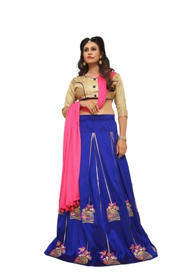 Blue Embroidered Silk Unstitched Lehenga