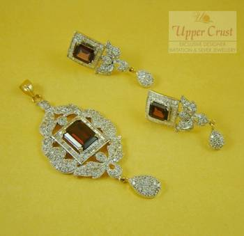 Royal Wine Shade CZ Earring Pendent Jewellery