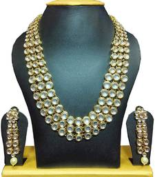 Buy Kundan Wedding Necklace Set with Earrings necklace-set online