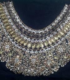 Partywear handwork maharani neck un-stitched black dupion raw silk blouse
