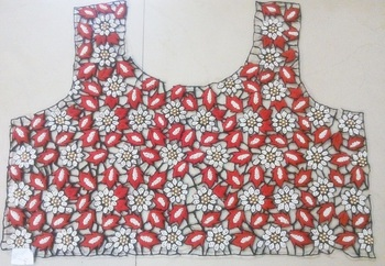 Partywear black & red handwork un-stitched thread & pearl cutwork blouse