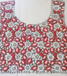 Partywear black & red handwork un-stitched thread & pearl cutwork blouse