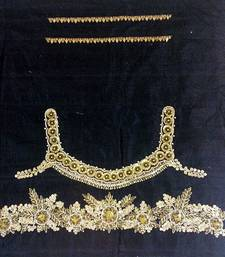 Heavy handwork un-stitched black pure raw silk material blouse with gota work