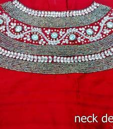 Heavy handwork un-stitched red pure raw silk material blouse with stone & pearl work