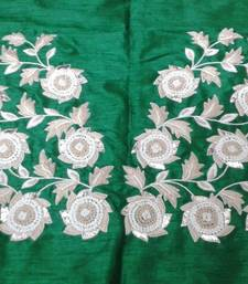 Heavy hand-embroidered un-stitched green dupion silk material blouse