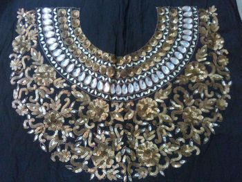 Heavy handwork un-stitched maharani neck black dupion raw silk material blouse with antique sequins work