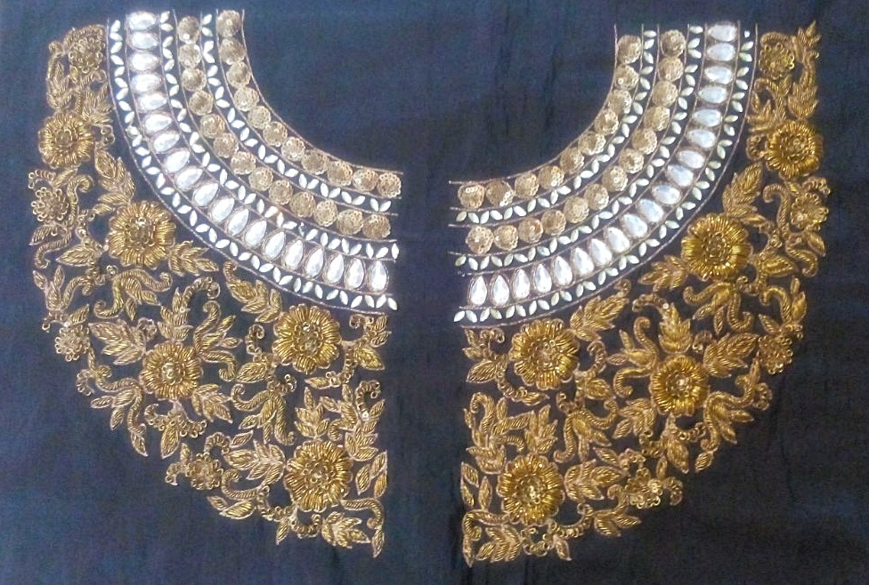 6e2ddf491b928 Heavy handwork un-stitched maharani neck black dupion raw silk material  blouse with antique dabka work - STUDIO ALANKAR - 315318