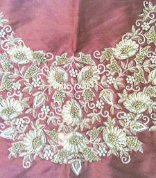Heavy hand-embroidered un-stitched maroon dupion silk material blouse