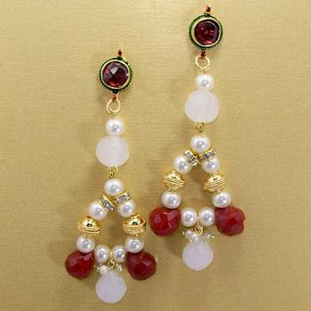 Pearl String Jhumars White Red
