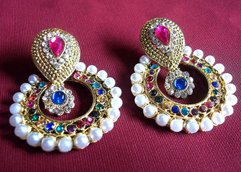 Rainbow Color Pearl Polki Earrings