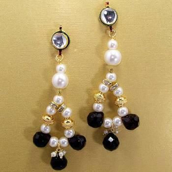 Pearl String Jhumars White Black