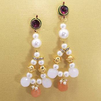 Pearl String Jhumars Peach White