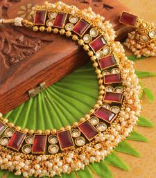 Buy BEAUTIFUL PEARL CLUSTER DARK PINK CHOKER NECKLACE SET -DJ12825 necklace-set online