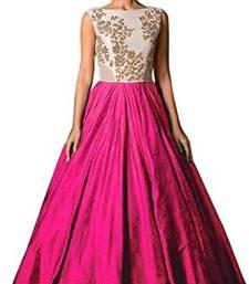 Buy Pink plain silk unstitched lehenga lehenga-choli online