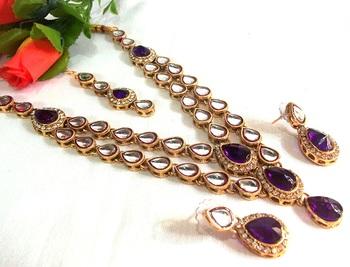 Purple Double line kundan necklace set
