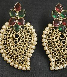 Buy Maroon & Green colour Hand crafted Earrings hoop online