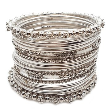 Silver Plated Plated Antique Look Wedding Bangles for Women