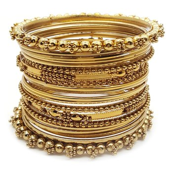 Gold Plated Plated Antique Look Wedding Bangles for Women