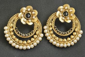 Gold Plated Fl Black Colour Earrings
