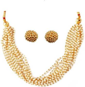 Kolhapuri Golden Necklace With Earrings