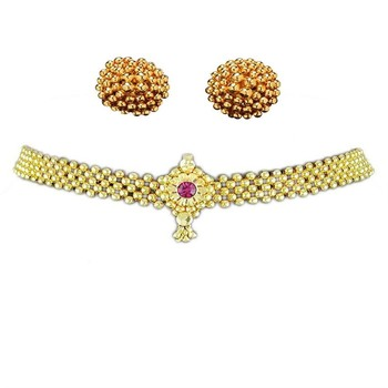 Kolhapuri Traditional Choker Thushi Necklace With Earrings