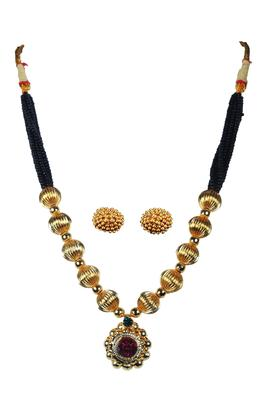Kolhapuri Traditional Strands of Black and Gold Beads Dorale Brass Mangalsutra With Earrings