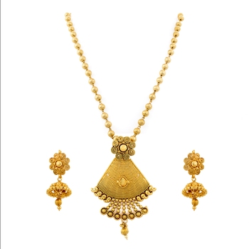 Ethnic One Gram Gold Plated Sprial Designer Pendant Set With Earring For S Women