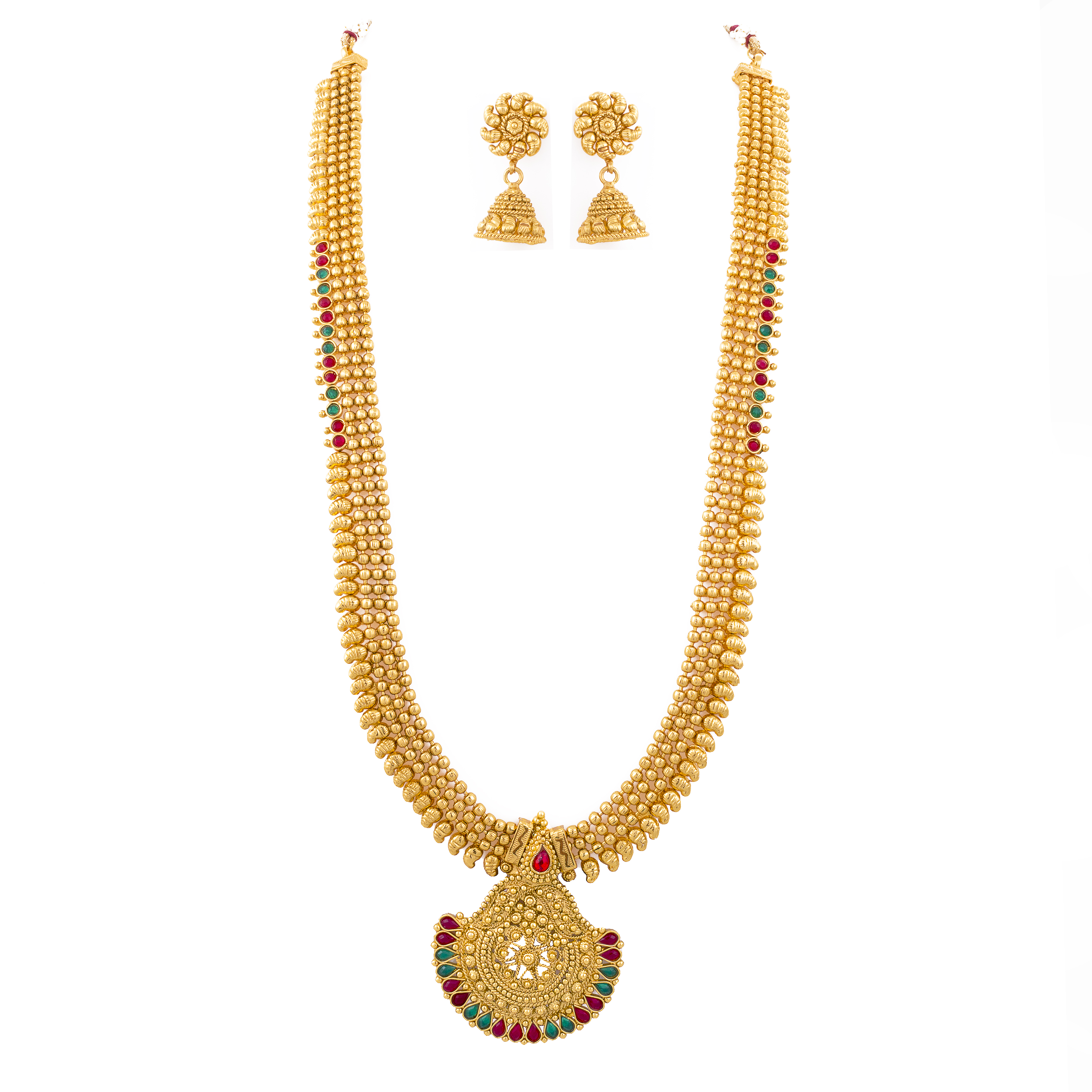be24a4608f ONE GRAM GOLD PLATED LONG NECKLACE SET WITH JHUMKA - Buy For Change LLP -  2340976