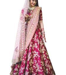 Buy  Pink Bridal semi stitched Lehenga choli material with heavy lace work on net dupatta women-ethnic-wear online