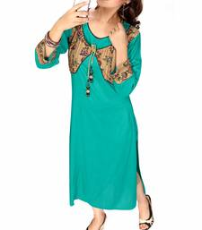 Buy Turquoise printed crepe stitched long-kurtis kurtas-and-kurtis online