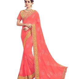 Buy Coral printed georgette saree with blouse wedding-saree online