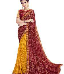 Buy Maroon printed georgette saree with blouse wedding-saree online