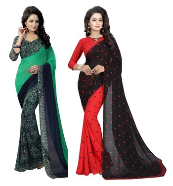 Multicolor printed georgette saree with blouse pack of- 2