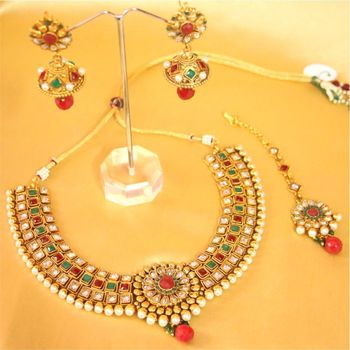 Beautiful Ruby And Zircon Pearl Necklace Set