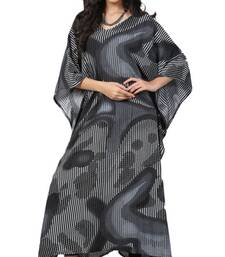 Black  And  White Color Printed High Quality Rayon Soft Cotton Designer Kaftan