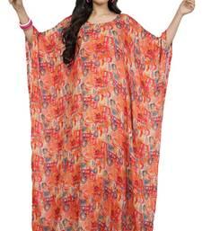 Orange  and  red color printed high quality rayon soft cotton long designer kaftan