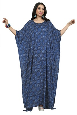 Navy Blue Color Printed High Quality Rayon Soft Cotton Long Designer Kaftan