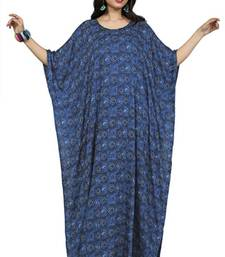 Navy blue color printed high quality rayon soft cotton long designer kaftan