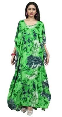 Green color printed high quality rayon soft cotton long designer kaftan