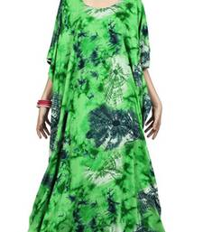 Green color printed high quality rayon soft cotton long designer kaftan