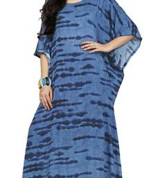 Blue Color Printed High Quality Rayon Soft Cotton Long Designer Kaftan