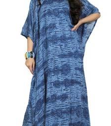 Blue Color Printed High Quality Rayon Soft Cotton Long Designer Kaftan