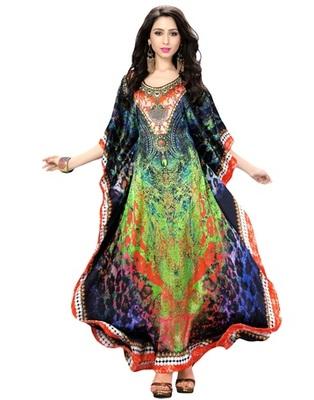 Multi Color Digital Printed High Quality Satin Silk Long Designer Kaftan