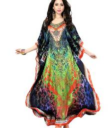 Multi color digital printed high quality satin silk long designer kaftan