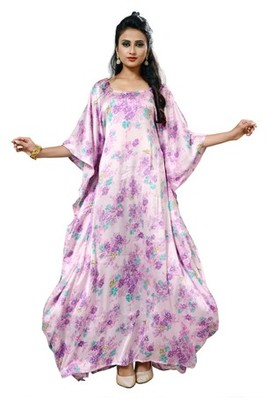 Pink  and  white color printed high quality satin silk long designer kaftan
