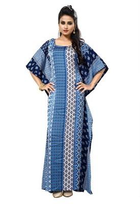 Blue  And  White Color Printed High Quality Satin Silk Long Designer Kaftan