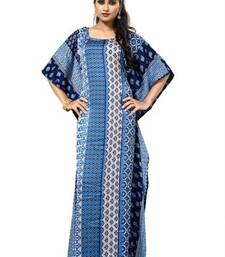 Blue  and  white color printed high quality satin silk long designer kaftan